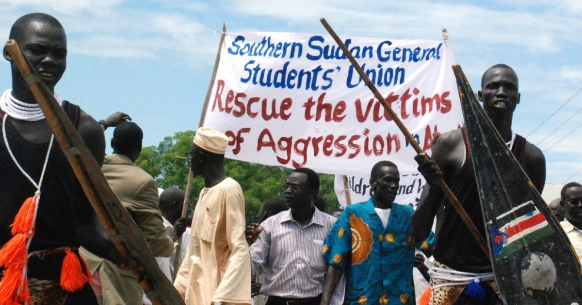 Some 200 Sudanese demonstrators in the capital of southern Sudan, Juba, demonstrate against the northern military occupation of the contested Abyei region on May 23, 2011. The U.N. demanded that Khartoum withdraw its troops from Abyei after what the south branded an 'invasion' of the flashpoint border district prompted warnings Sudan is