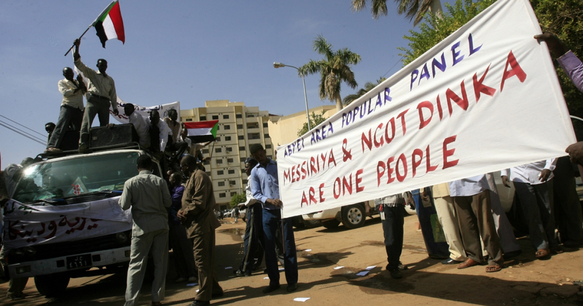 Some 100 protesters from the nomadic Arab Messiriya tribe demonstrate in Khartoum, Sudan, on Nov. 28, 2012. The 20th African Union (AU) Summit is set to gather in Addis Ababa, Ethiopia, on Jan. 21, 2013, to discuss measures to leads the Sudans toward peace — including ways to ensure the final status of the hotly-contested region of Abyei.</p>