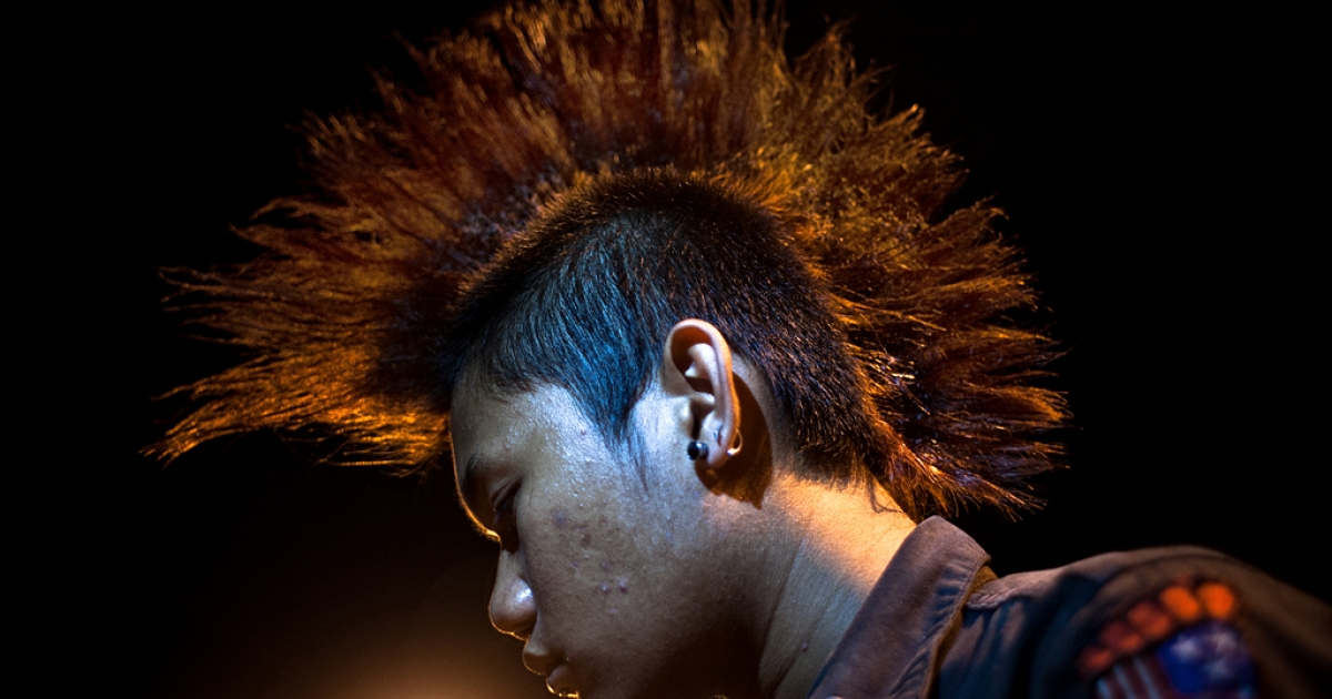 An Acehnese punker with Mohawk hairstyle in Banda Aceh, Aceh Province, Indonesia.</p>