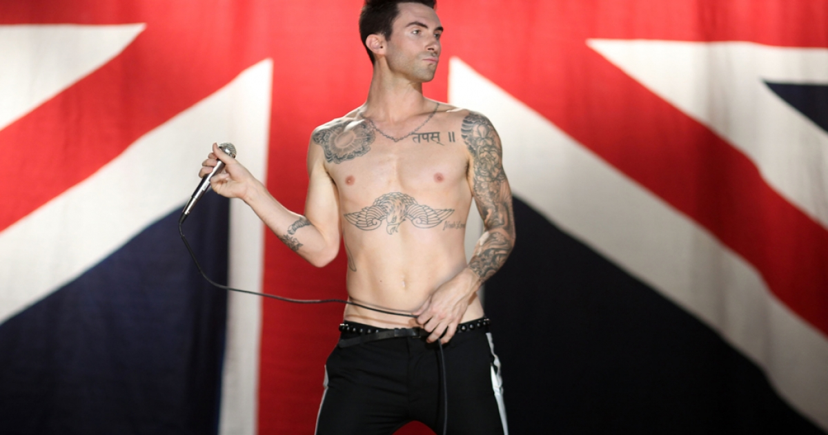 This man may want to reconsider his life choices in pants. Musician Adam Levine of the band Maroon 5 performs at the Maroon 5 Video Shoot for 'Moves Like Jagger' with Christina Aguilera on July 8, 2011 in Los Angeles, California.</p>