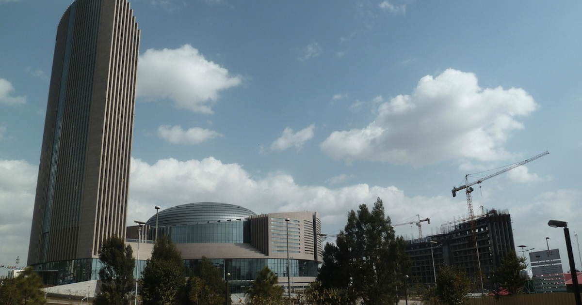 A view of the new African Union headquarters in Addis Ababa on January 24, 2012. The AU headquarters was built and fully funded by the Chinese government at a cost of $200 million. The building will host this year's AU Summit in the Ethiopian capital, which brings together heads of state from across the continent. The towering building – Addis Ababa's tallest – symbolizes China's strengthening ties with Africa, a major source of foreign investment from China.</p>