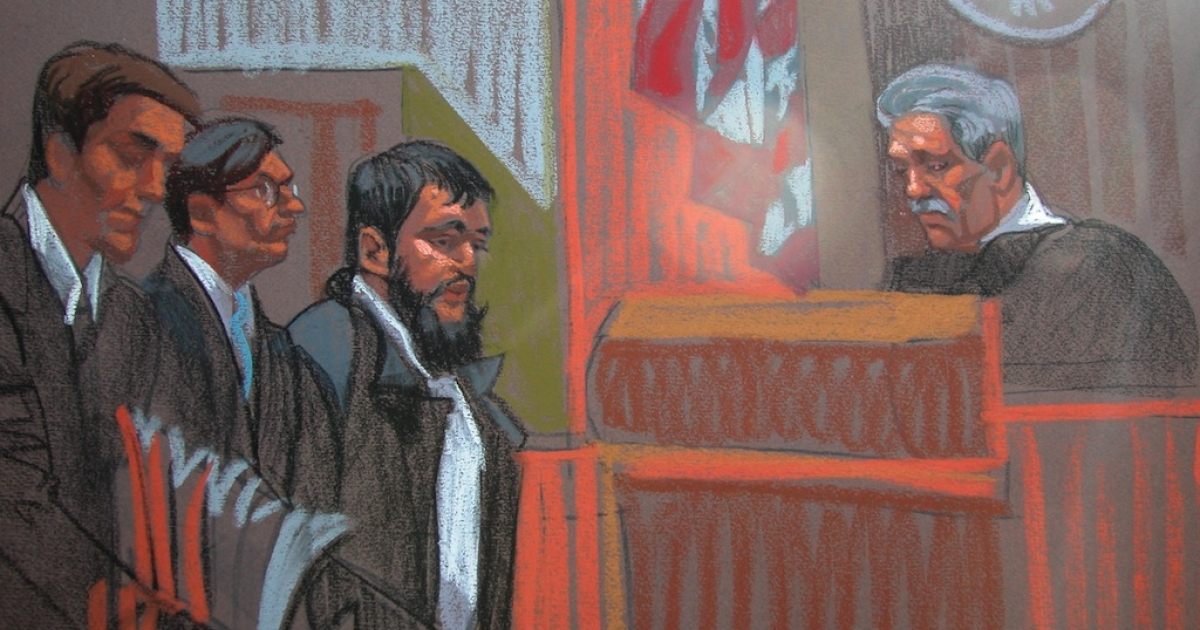 This courtroom sketch shows Bosnian-born Adis Medunjanin (3rd L), an alleged associate of Afghan immigrant Najibullah Zazi, appearing in court in New York on January 9, 2010.</p>