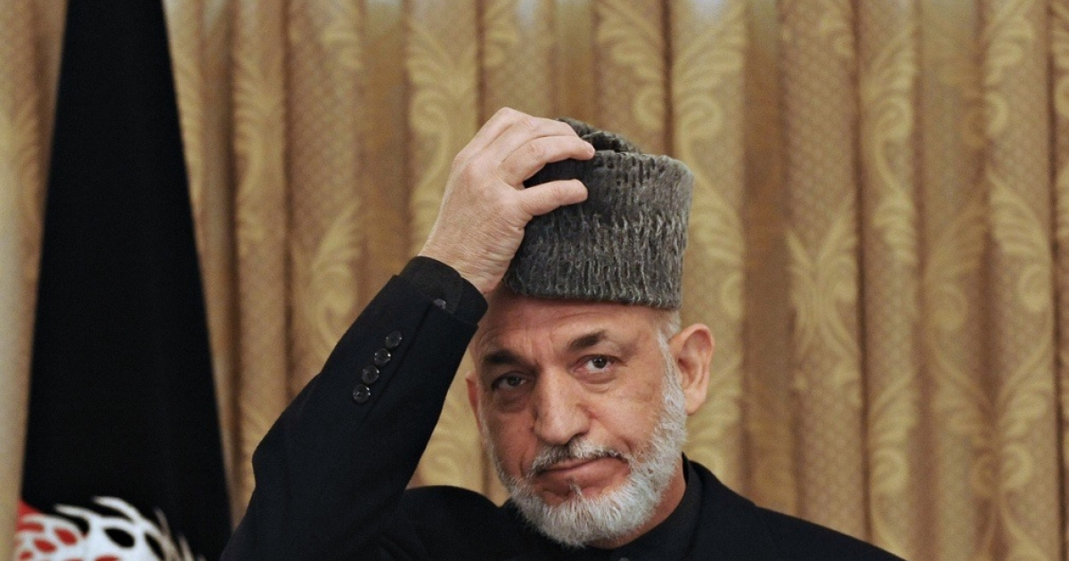Afghan President Hamid Karzai at a press conference at the Presidential Palace in Kabul on April 11, 2011.</p>
