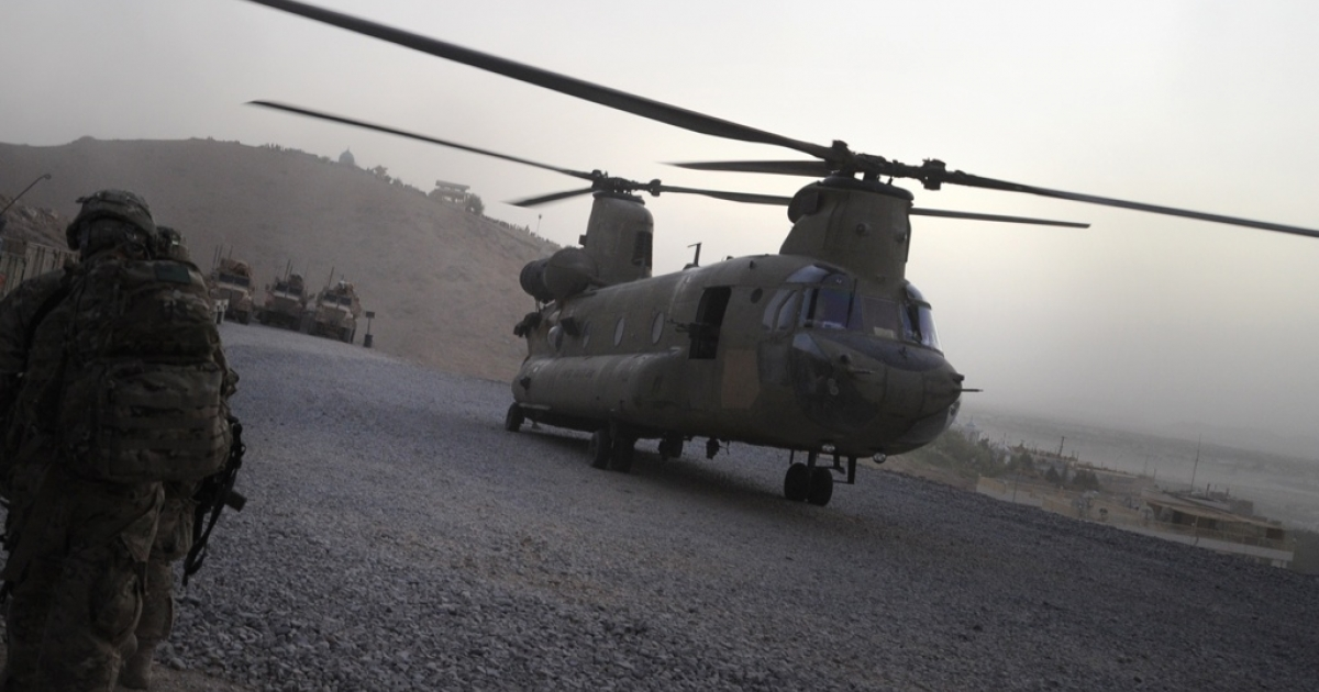 Afghanistan's US Baghram airbase was attacked late Monday in an assault that wiped out a manned NATO helicopter, killing three Afghan soldiers on board, coalition officials said today. Here, a US military Chinook helicopter lands at Forward Operating Base in southern Afghanistan on July 29, 2011.</p>