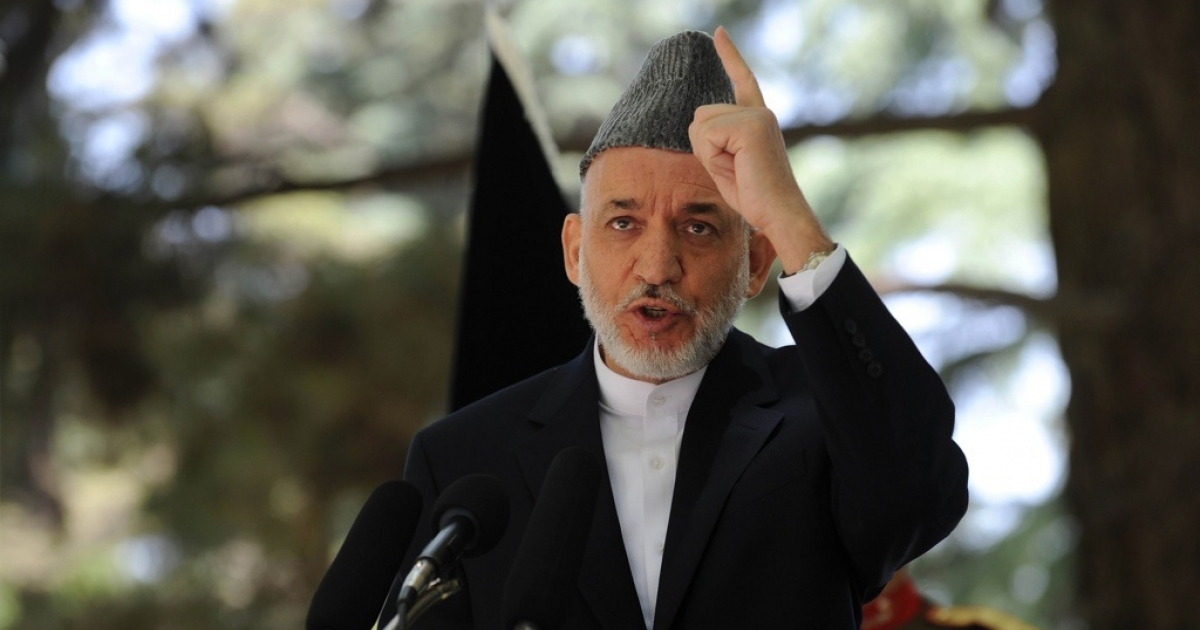 Afghan President Hamid Karzai speaks during a press conference at the Presidential palace in Kabul on May 31, 2011.</p>