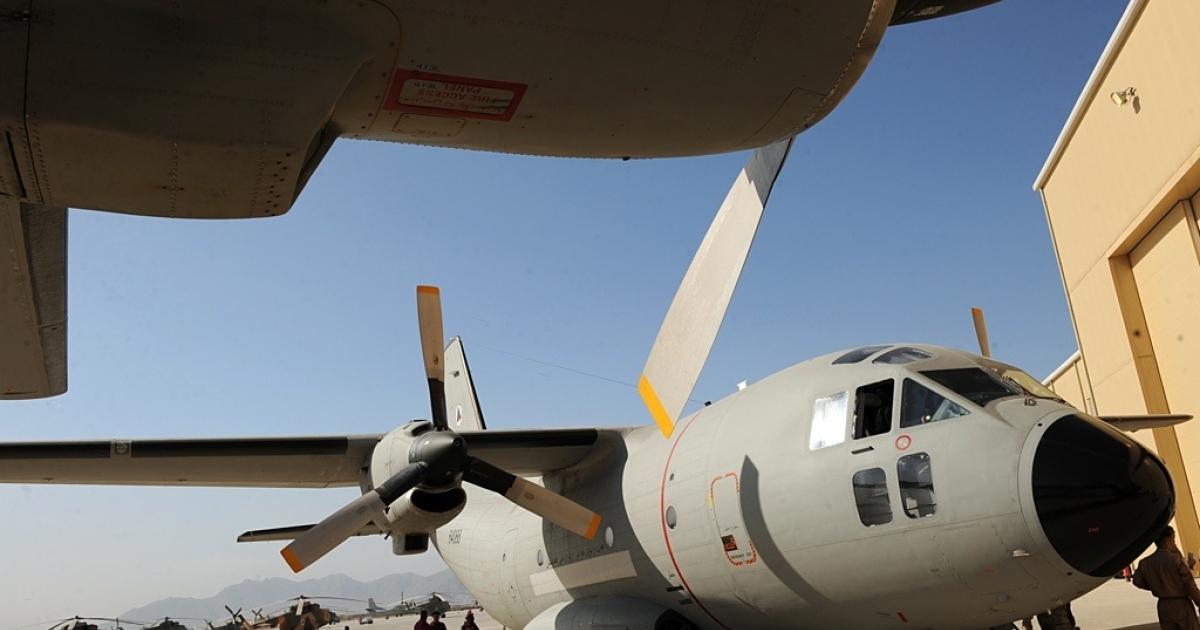 An aircraft on the tarmac at Kabul airport.</p>