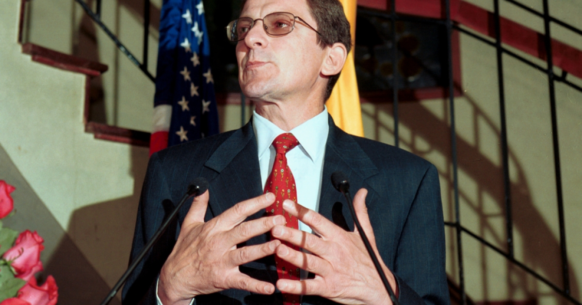 U.S. Undersecretary of State for Political Affairs Marc Grossman, who was recently named the new Special Envoy for Afghanistan and Pakistan, speaks at a press conference on Aug. 31, 2001 in Bogota, Colombia. (Carlos Villalon/Getty Images)</p>