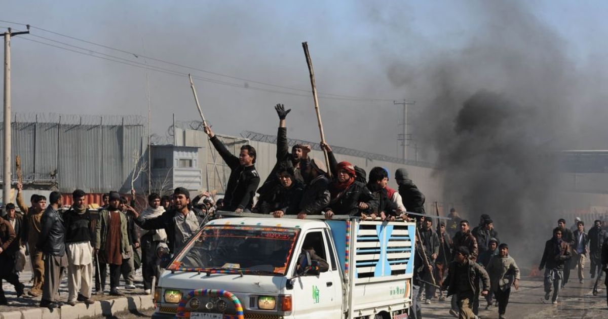 Afghan demonstrators during a protest against Koran desecration in Kabul on Feb. 22, 2012.</p>