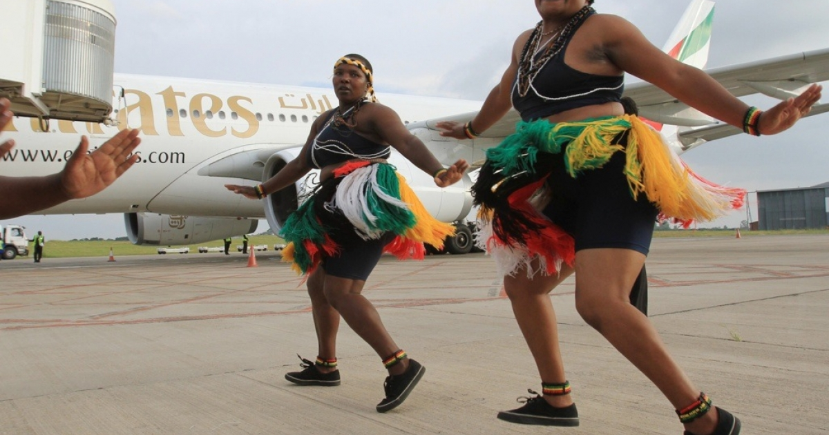A new low cost airline is to be launched in Africa. The continent does not have enough airline routes and Fastjet will open new flights connecting East, West and Southern Africa, say its founders. Here, traditional dancers in Zimbabwe welcome the arrival of an Airbus jet on February 1, 2012.</p>