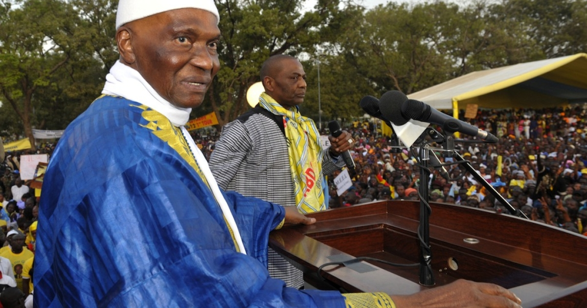 Senegal's leader Abdoulaye Wade is 85 years old while the median-aged Senegalese person hasn't yet turned 19. Wade, facing a storm of criticism over his third term presidential bid, looks on during a rally in Thies on Feb. 8, 2012.</p>