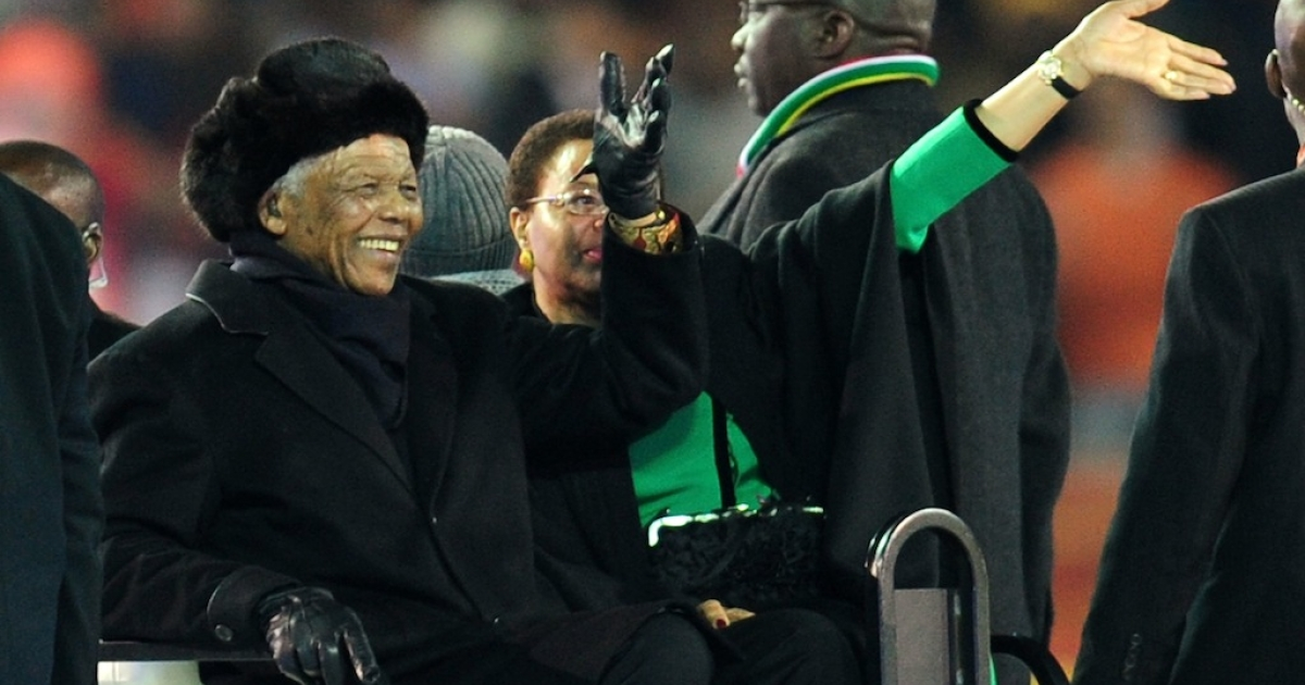 A new miniseries is being produced to tell the story of Nelson Mandela's life. Here, Mandela and wife Graca Machel wave to the crowds prior to the 2010 FIFA World Cup South Africa Final match between Netherlands and Spain at Soccer City Stadium on July 11, 2010 in Johannesburg, South Africa.</p>