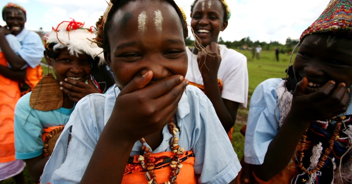 Young girls from a dance group in rural Kenya.</p>
