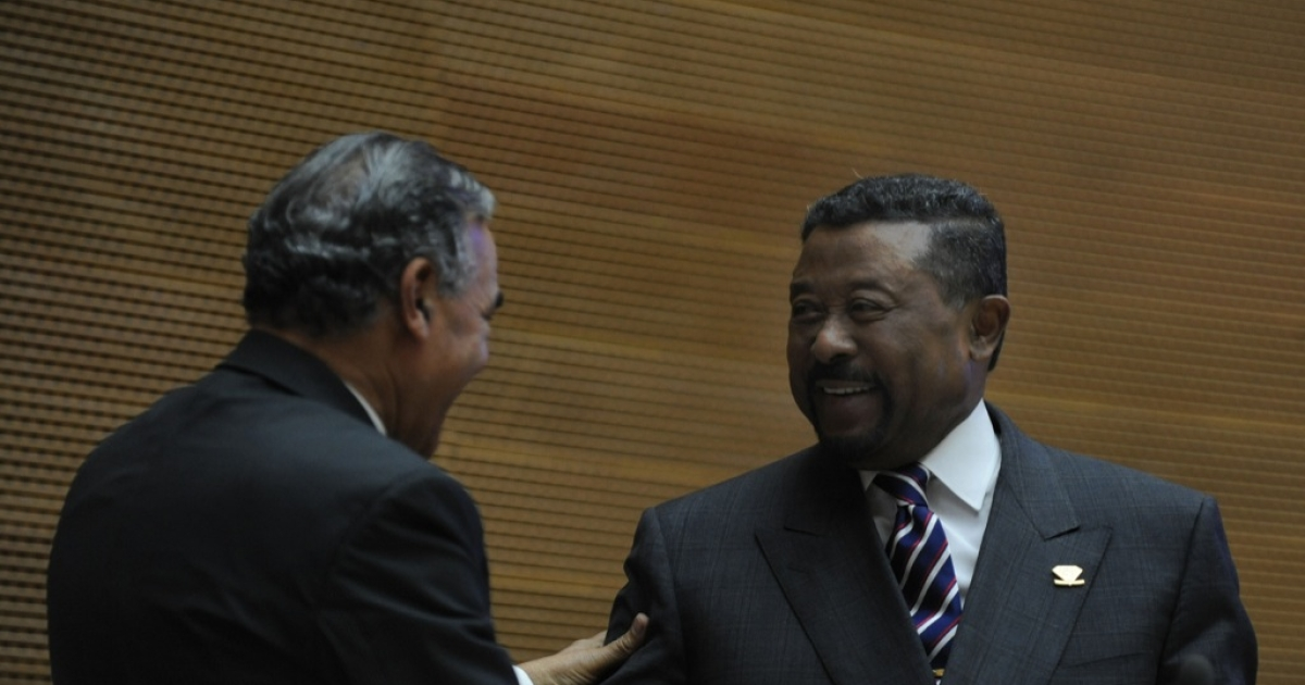 African Union (AU) Commission Chairman Jean Ping (R) is congratulated on Jan. 31, 2012 in Addis Ababa following an extension of his mandate. Intense campaigns had preceded the vote and dominated the summit during which leaders gathered to discuss broadening trade within Africa and tackling conflict hot spots.</p>