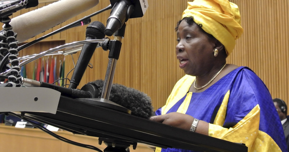 African Union Commission chief Nkosazana Dlamini-Zuma addresses the AU Peace and Security Council on October 24, 2012 in Addis Abada. The AU Peace and Security Council met today to discuss the ongoing negotiations between Sudan and South Sudan and the continued crisis in Mali, where al Qaeda-linked rebels have taken over much of the country's north following a coup in March.</p>