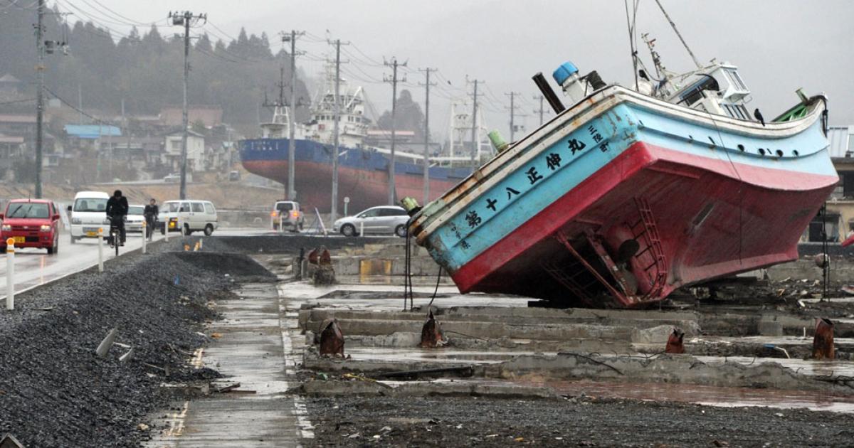 Kesennuma city, Miyagi prefecture on March 8, 2012.</p>