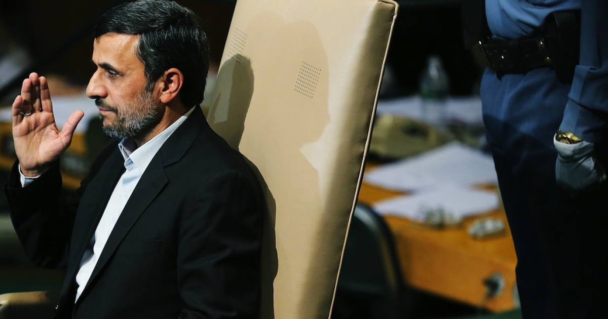 Iranian President Mahmoud Ahmadinejad sits before giving his address to world leaders at the United Nations General Assembly on September 26, 2012 in New York City.</p>