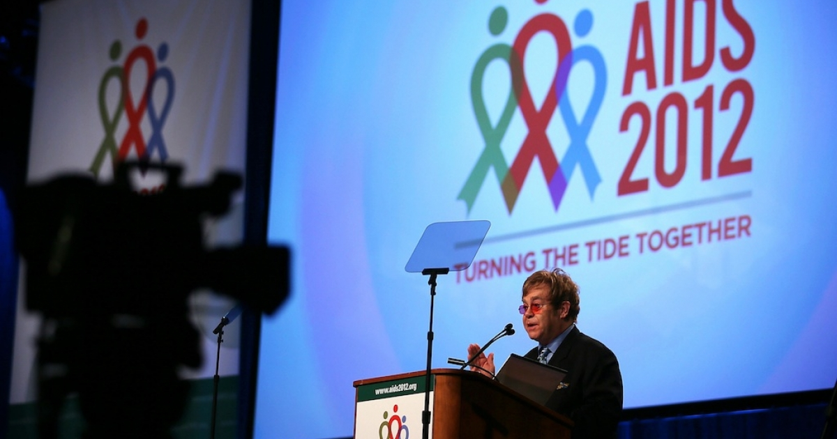 Singer, songwriter and musician Elton John speaks during the 19th International AIDS Conference July 23, 2012 in Washington, DC. The International AIDS Conference, the world's largest, was held in the US for the first time since 1990.</p>
