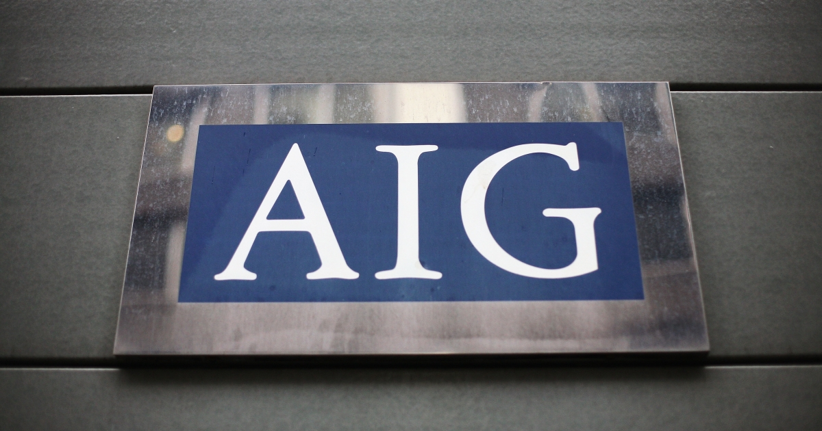 A view of insurance company AIG in London, England, on Mar. 26, 2009.</p>