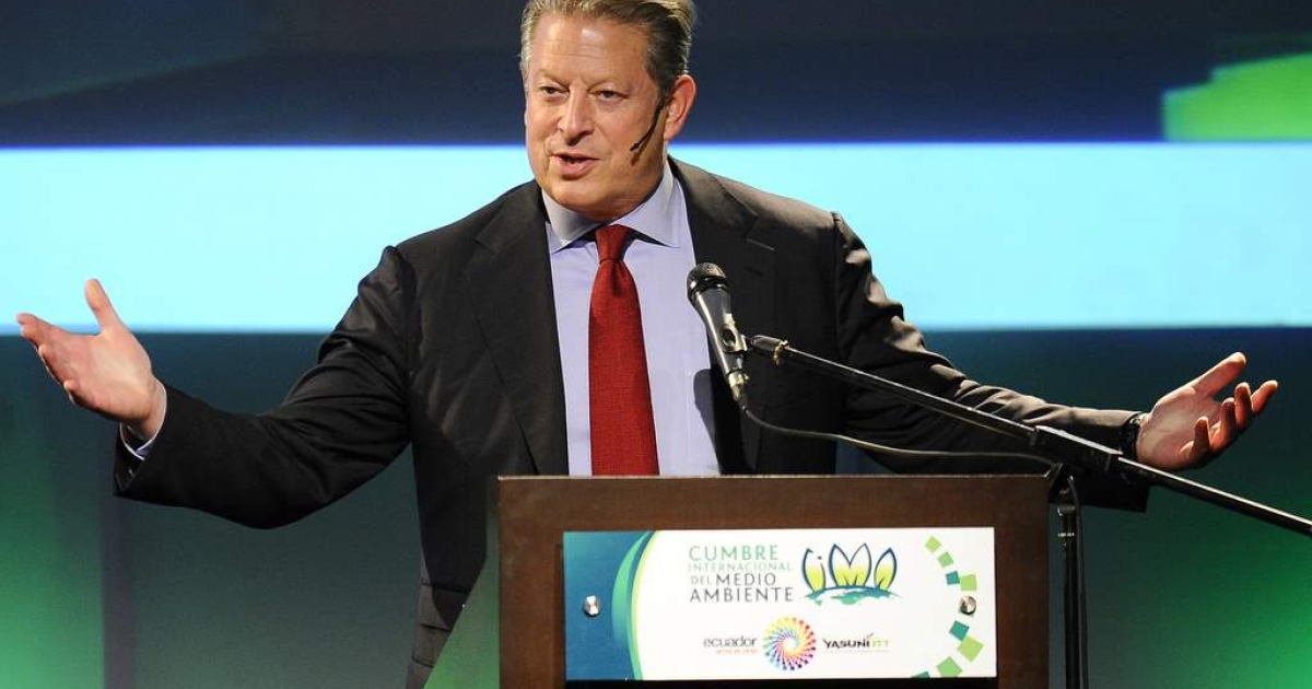 Former US Vice-President and environmental activist Al Gore speaks during an environmental summit in Guayaquil, Ecuador on March 17, 2011.</p>