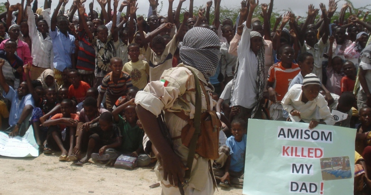 A demonstration organized by Al Shabaab, the Somali insurgents who are allied to Al Qaeda, in Mogadishu, on July 5, 2010.The demonstrators carried placards written with slogans against the African Union peace keeping force.</p>