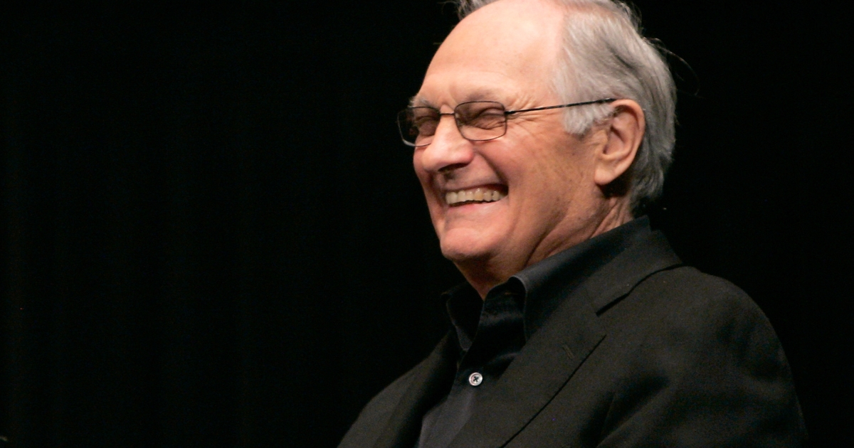 Alan Alda speaks during a Q & A at a screening of