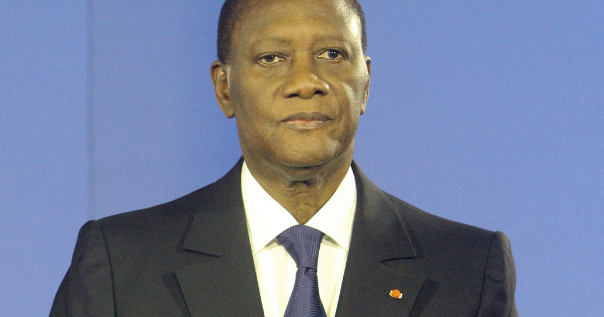 Ivory Coast's internationally-recognized President Alassane Ouattara speaks on April 11, 2011 in Abidjan. Ouattara called on Ivorians to abstain from reprisals and violence and said he wanted to create a truth and reconciliation commission to draw a line under his country's conflict.</p>
