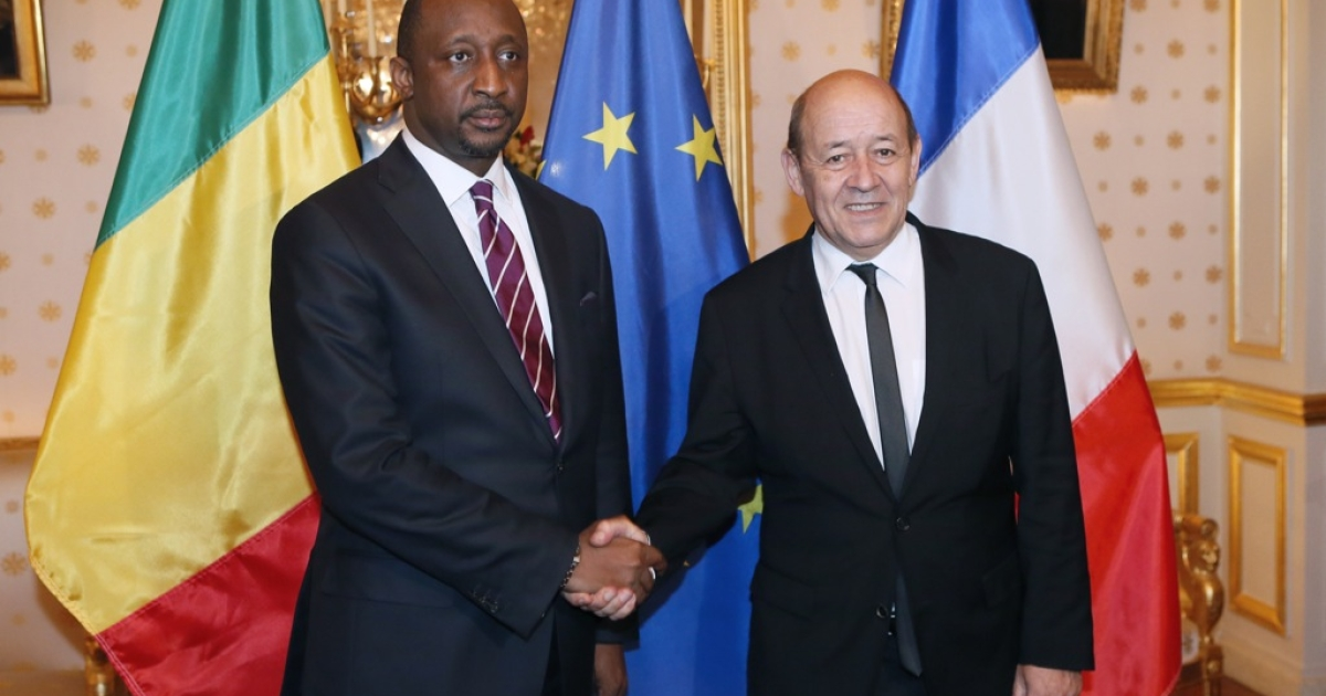 French Defence Minister, Jean-Yves Le Drian welcomes Malian Foreign Affairs Minister Tieman Hubert Coulibaly before their meeting, on January 15, 2013 in Paris. Le Drien announced on Feb 26th that the French government would not negotiate with alleged Boko Haram hostage takers over the release of a French family of 7.</p>