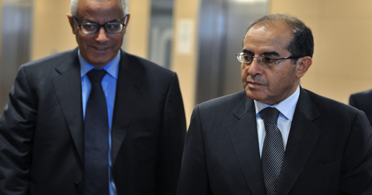 Mahmud Jibril (R) and ambassador Ali Zidan (L) on July 13, 2011 at the European Union Headquarters in Brussels.</p>
