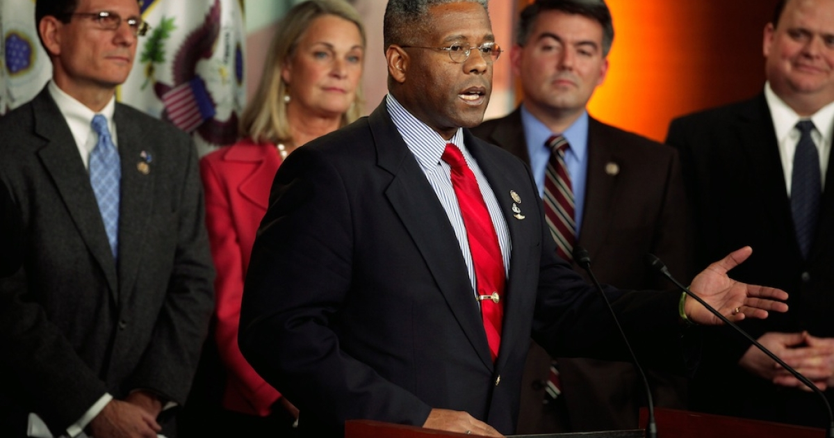 Rep. Allen West (R-FL) (C) speaks during a news conference with fellow House Republican freshmen (L-R) Rep. Joe Heck (R-NV), Rep. Ann Marie Buerkle (R-NY), Rep. Cory Gardner (R-CO) and Rep. Tom Reed (R-NY). West finally conceded to his opponent Patrick Murphy on Tuesday.</p>
