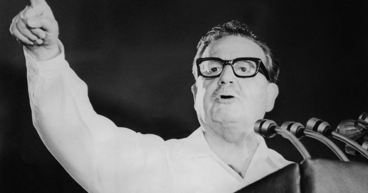 An undated photo of former Chilean President Salvador Allende (1908-1973) speaking at the closing of the Chilean Communist Party's 5th anniversary.</p>
