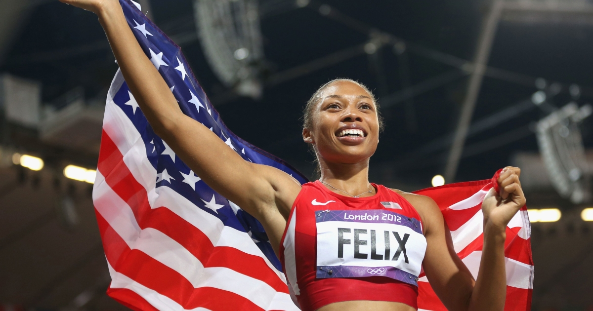 USA's Allyson Felix reacts after winning the women's 200 meters on Day 12 of the London 2012 Olympic Games at Olympic Stadium on Aug. 8, 2012.</p>