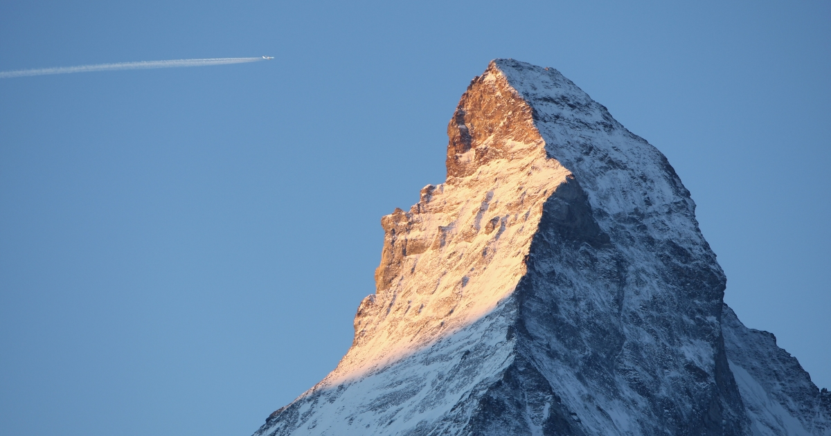 Light from the rising sun in Zermatt, Switzerland catches the eastern face of the Matterhorn in December, 2007.</p>