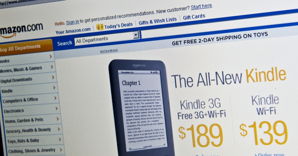 The Amazon homepage is seen in Washington on Dec. 9, 2010 advertising its new Kindle e-reader.</p>