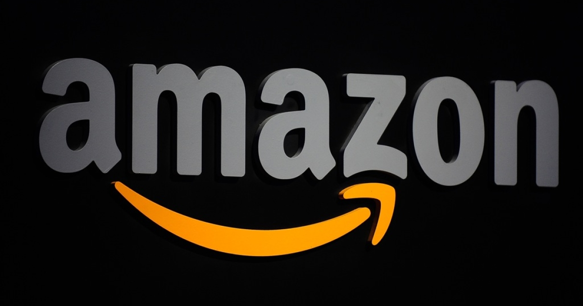 The Amazon logo is seen on a podium during a press conference in New York, September 28, 2011.</p>