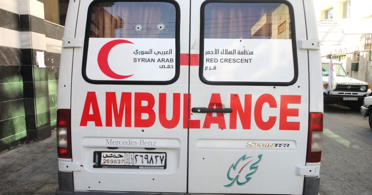 The Syrian Red Crescent ambulance was left peppered with bullet holes along its sides, rear and roof as well as through its front windscreen after the attack on September 7. The attack, which the Red Crescent blamed on Syrian security forces, killed one of the three volunteer medics.</p>