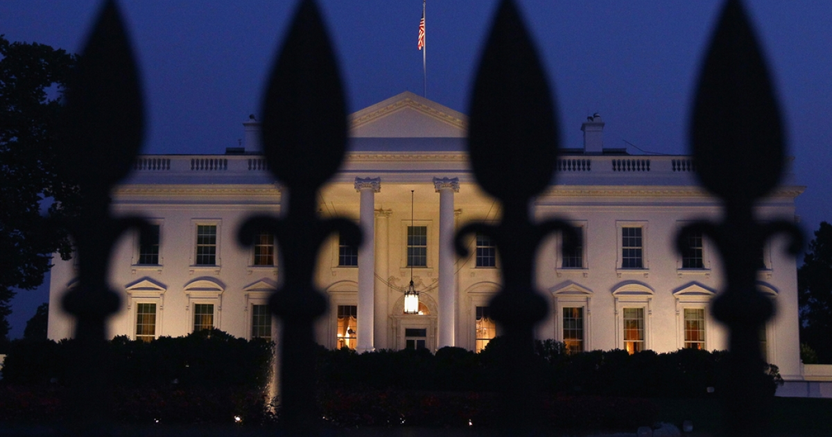 The White House is shown on the evening U.S. President Barack Obama addressed the nation on the debt limit impasse with members of the U.S. Congress July 25, 2011 in Washington, DC.</p>