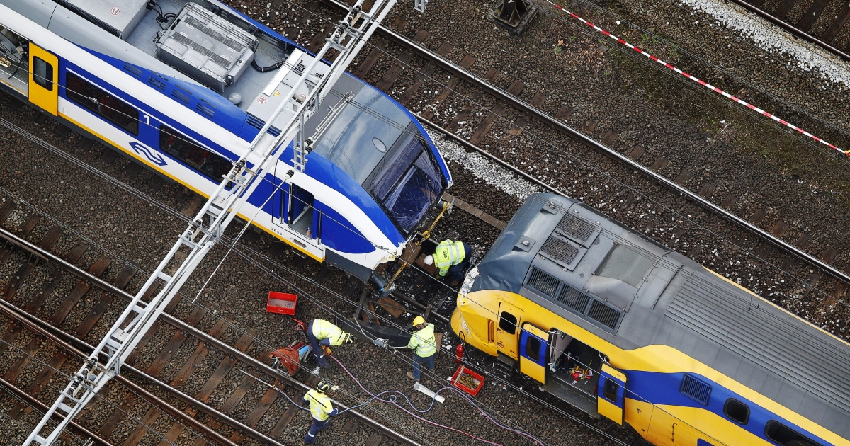 This aerial photo released today shows two trains which collided Saturday in Amsterdam.</p>