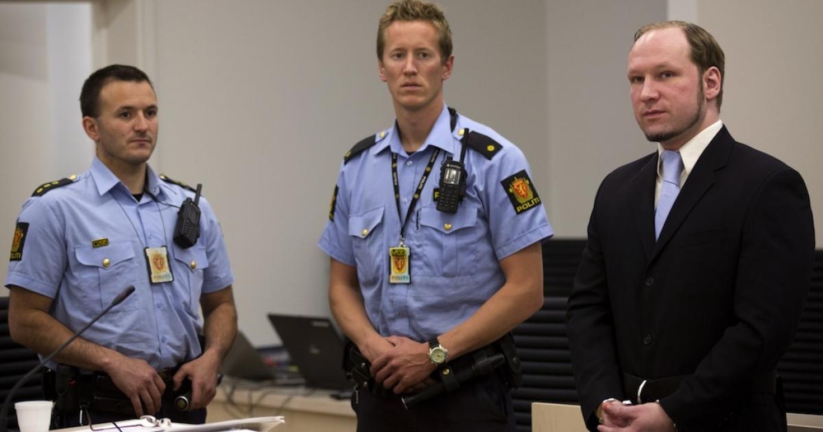 Anders Behring Breivik appears in court on the last day of his 10-week trial.</p>
