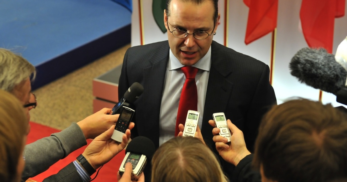 Swedish Finance Minister Anders Borg talks to the press on January 24, 2012 before an EU Economy and Finance Council meeting at EU headquarters in Brussels.</p>