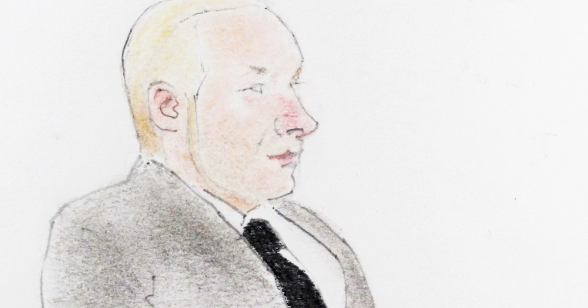 A drawing of terror suspect Anders Behring Breivik during a hearing at the Oslo courthouse, on November 14, 2011. The Norwegian gunman killed 77 people in twin attacks on July 22, 2011, explaining that his massacre was a 'preventive attack against state traitors.'</p>