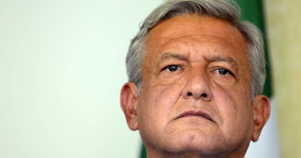 Andres Manuel Lopez Obrador, runner-up in the Mexican presidential election, announces he wants a full vote recount during a press conference in Mexico City on July 3, 2012.</p>