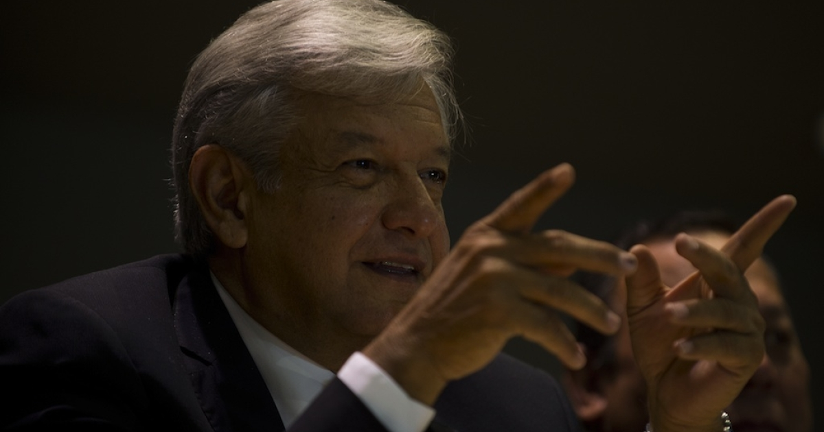 Andres Manuel Lopez Obrador responds to questions during a press conference in Mexico City on July 9, 2012.</p>