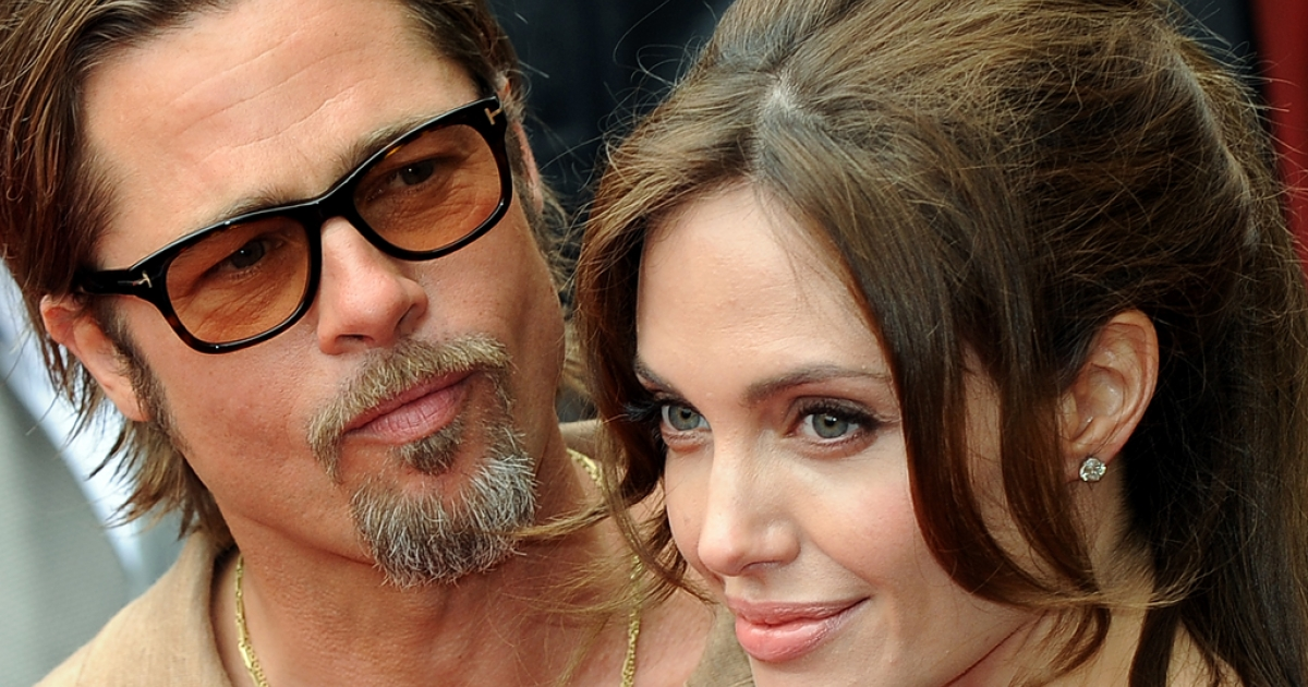 Actors Brad Pitt and Angelina Jolie in Los Angeles on May 22, 2011.</p>