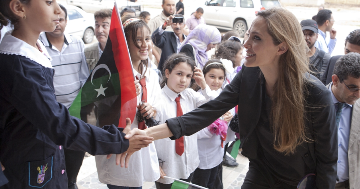 U.N. Goodwill Ambassador Angelina Jolie visits Libya to help agencies bringing aid to Libyans in Tripoli and Misrata on October 11, 2011 in Misrata, Libya. Jolie was appointed as special envoy to the United Nations High Commissioner of Refugees on April 17, 2012.</p>