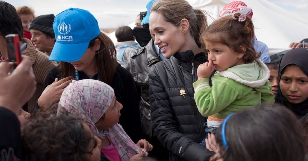 UNHCR Special Envoy Angelina Jolie meets with refugees at the Zaatari refugee camp on December 6, 2012 outside of Mafraq, Jordan. Since her last visit to the region in September, the number of refugees in the region has increased by more than 200,000 and in Jordan alone by nearly 50,000.</p>