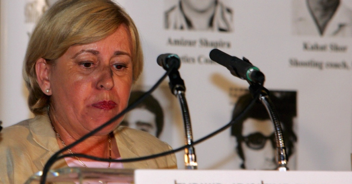 Ankie Spitzer, the widow of murdered Israeli fencing coach Andre Spitzer, speaks in August 2004 at a memorial event for the Israeli victims of terrorism in the 1972 Munich Olympic Games. The event was held in Athens at the residence of the Israeli ambassador to Athens, Ram Avriam.</p>