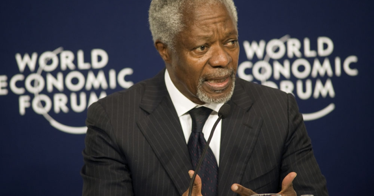 Kofi Annan, former UN Secretary-General launches the 2011 Africa Progress Panel report during the World Economic Forum on Africa.</p>