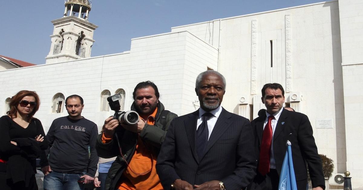 UN-Arab League envoy for Syria Kofi Annan in Damascus on March 10, 2012 following a meeting with Syrian President Bashar al-Assad.</p>