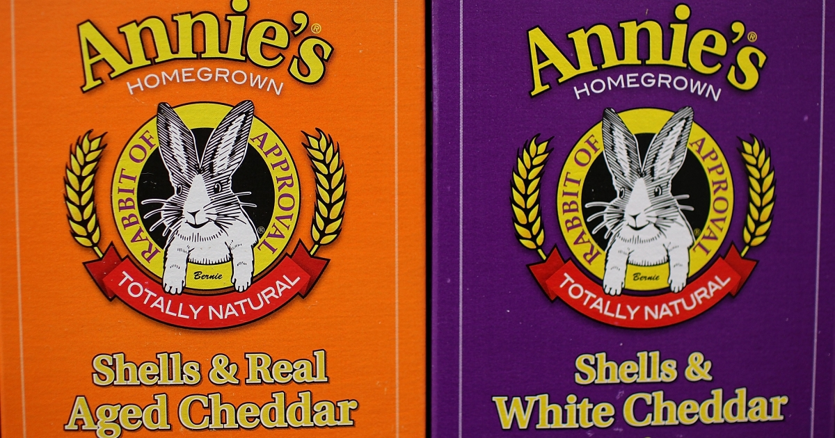 Boxes of Annie's shell pasta on a shelf at Berkeley Bowl in Berkeley, Calif.</p>