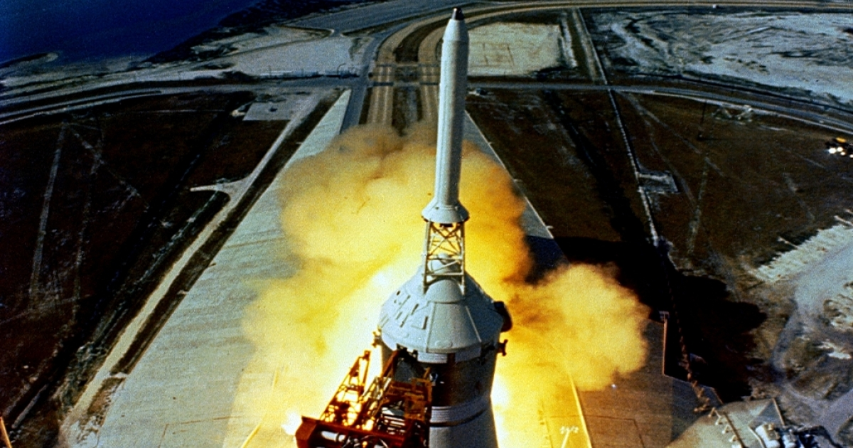 The huge, 363-foot tall Apollo 11 Spacecraft is launched from Kennedy Space Center July 16, 1969.</p>